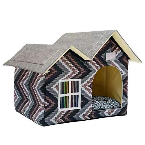 Casa para Perros, Habitación, Cama para Gatos, Doble Techo, Jaulas para Mascotas para Perros, Perrera Plegable, Refugio Impermeable para Gatitos