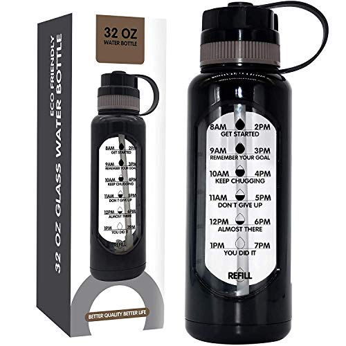 32 OZ Glass Water Bottle with Straw Shatterproof Sleeve, Motivational Water Bottle with Time Marker Remind to Drink Reusable Sport Water Bottles BPA Free 1 liter Glass Bottle Wide Mouth Unbreakable