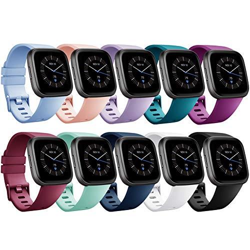 Onedream Kompatibel mit Fitbit Versa Armband/Versa Lite Armband/Versa 2 Armband Damen Herren - Weich Ersatzarmband Silikon Armbänder für Fitbit Versa 2 Special Edition Sport Zubehör (Zehn Farbes, L)