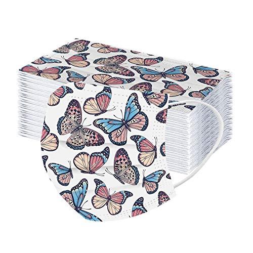 Hanomes 50 Stück Mundschutz_Damen mit Schmetterling Motive,Weihnachten 3 Lagig Atmungsaktive,Einmal ,Erwachsene,Bandana Face Cover Winter