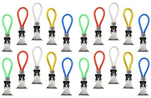 com-four® 20x Handtuchhalter-Clips aus Metall, Handtuchhaken zum Aufhängen von Handtüchern in 5 tollen Farben