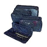 6 pc set embalaje organizadores - 3 embalaje cubos y Digital accesorios estuche neceser bolsa de lavandería bolsa de viaje-Azul marino