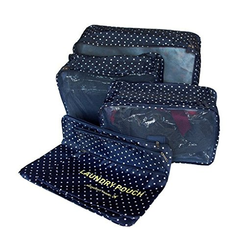 6-en-1 Set de Organizador de Equipaje, Impermeable Organizador de Maleta Bolsa para Ropa Sucia de Viaje, Material Nylon-Azul marino