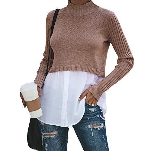 Exlura Women's Patchwork Shirt Office Shirt Ribbed Sleeve Button Down Shirt Hem 2 in 1 Pullover Blouse Tops for Work Khaki