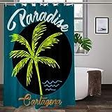 keiou Cortina de Ducha de poliéster,Cartagena paradisetshirt Print Poster,Excelente Impermeable para la decoración del baño, Cortina de Ducha Linda.72 * 84inch