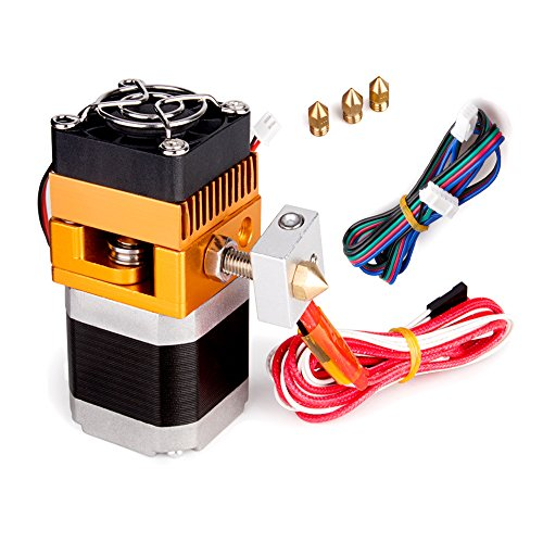 All Metal MK8 Extruder, 3D Printer Extruders Hotend Kit with 0.2/0.3/0.4/0.5mm Nozzle Print Head for MakerBot Prusa i3 Reprap 3D Printer 1.75mm Filament Supported