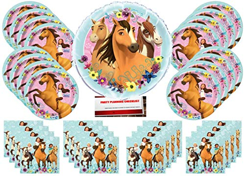Spirit Riding Free Horse Pony Birthday Party Supplies Bundle Pack for 16 Guests with Large 18 Inch Balloon (Plus Party Planning Checklist by Mikes Super Store)