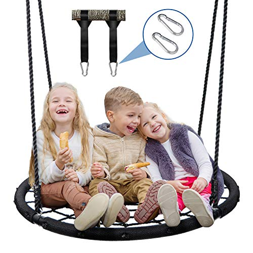 ZENY Extra Large 48'' Spider Web Tree Swing Backyard Outdoor Hanging Play Slide Seat with Adjustable Hanging Rope Large Swing Platform with Hanging Straps Kit for Multiple Children