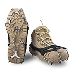 SAFE AND DURABLE: No matter what the conditions, with 12 high-strength stainless steel spikes can dig into varieties terrain, such as ice and snow-covered pavement and gravel. Durable elastic harness ensures a tight hold on your shoe, keep you safe a...