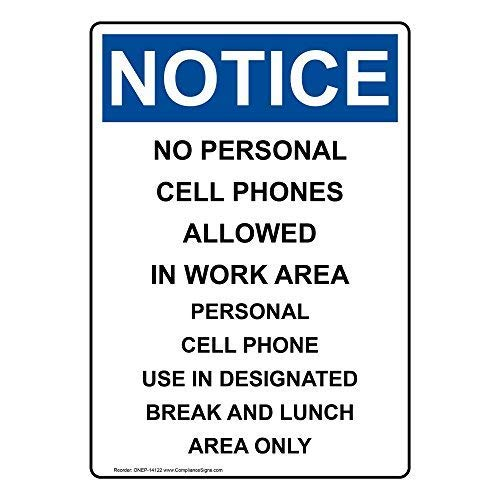 Vertical No Personal Cell Phones Allowed Sign, 10x7 inch Plastic for Cell Phones by ComplianceSigns