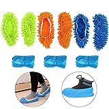 KATOOM Zapatilla fregona 3 Pares Limpiar Polvo Microfibra Zapatilla con 15pcs Zapato de Funda desechable de Zapatilla mopa casa o