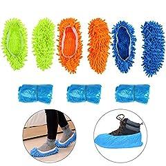 Idea Regalo - KATOOM Pantofole di Pulizia,Pantofole Mop 3 Paia Pulisci Un Buon aiutante Materiale Super Morbido Dare 15 Paia di Copri Scarpe di plastica Adatto a bagni Ufficio cucine Piano