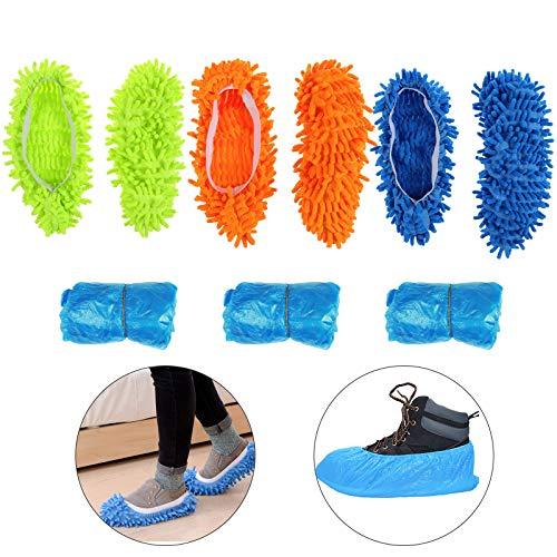KATOOM Mop Schuhe 3 Paar Bodenwischer Lazy Slippers Hausschuhe Reinigungspantoffeln Putzschuhe Microfaser Staubmopp Hausschuhe Bodenreiniger Schuhabdeckung Wischmop mit 15 Paar Einweg Überschuhe