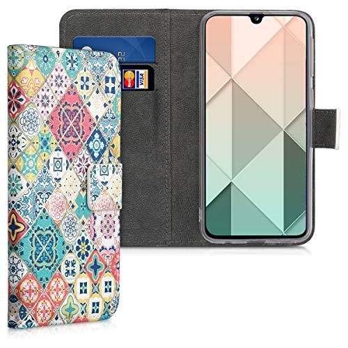 kwmobile Funda Compatible con Samsung Galaxy A40 - Carcasa de Cuero sintético Azulejos - con Tarjetero