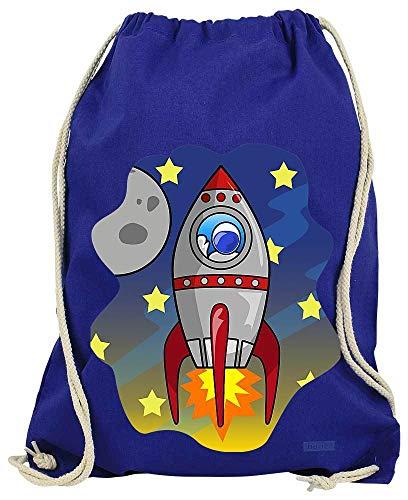 Hariz - Bolsa de deporte, diseño de cohete en el espacio del astronauta, color azul real, tamaño talla única