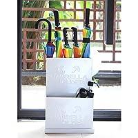 傘立て 玄関 ドアコーナー 傘立てホルダー 取り外し可能なドリップトレイ付き、 自立型ラック にとって 長い/短い傘 杖 (Color : White, Size : 35×24×52cm)