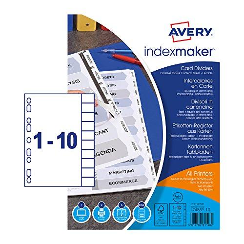 Avery Dennison Etiketten-Register extra breit, A4, Weiß, 10-teilig