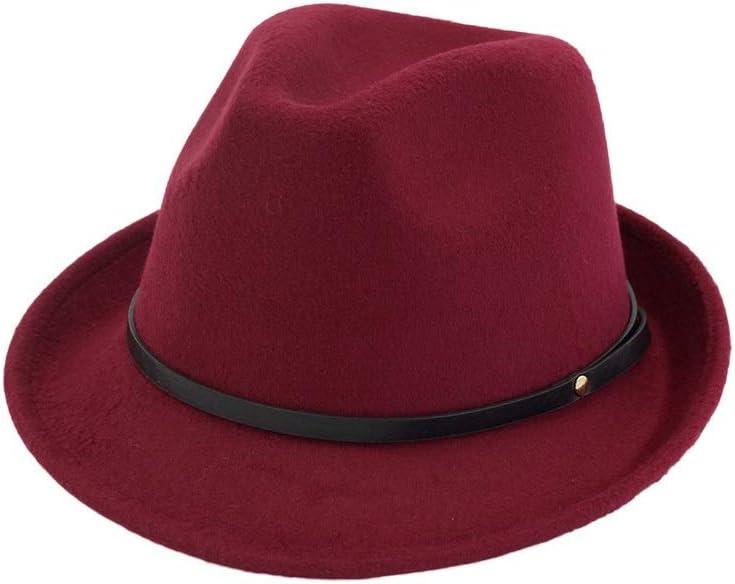 No-branded Men Women Fedora Hat with Belt Gentleman Elegant Lady Winter Autumn Jazz Retro Wide Brim Cap Size 56-58CM ZRZZUS (Color : Wine red, Size : 56-58)