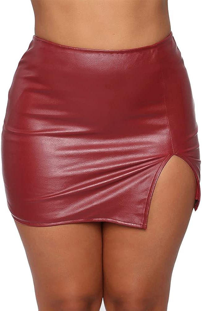 Womens Split PU Leather Mini Skirt Wrap Slim Short Skirt Zipper Slit Pencil Skirt Night Club Dress Bodycon