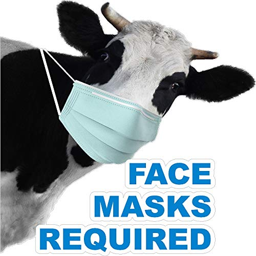 dairy masks Cute Cow Left OR Right FACE MASK Required Social DISTANCING STOREFRONT Vinyl Decal/Two Sizes to Choose from (Right Cow 12