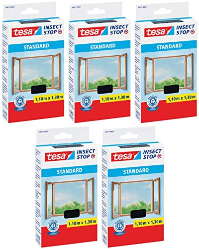 tesa Insect Stop Standard Fliegengitter für Fenster 1,1m:1,3m 5er Pack