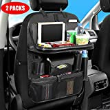Car BackseatOrganizerwith Foldable Table Tray,Car Seat ProtectorwithTablet Holder + 11Storage Pockets Back seat Organizer for Kids Toys Storage