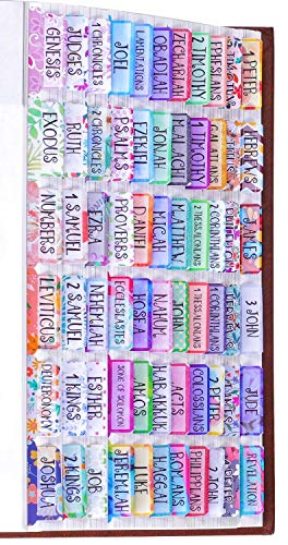 Colorful Floral Bible Tabs Laminated with Matte Film, Cute Bible tabs for Women and Girl, 90 Bible Index tabs in Total, 66 tabs for Old and New Testament, Additional 24 Blank tabs