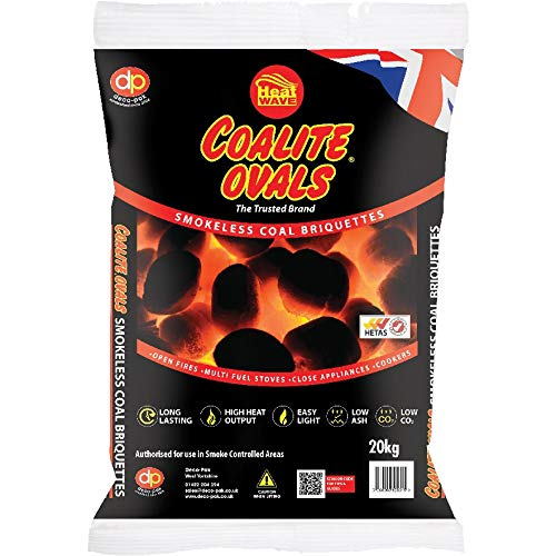 SMOKELESS BRIQUETTES. FUEL FOR LOG BURNERS STOVES AND OPEN COAL FIRES 20KG BAG