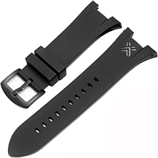Black Rubber Diver Watch Strap Band For Exchange AX1042 AX1050 AX1114 AX1182 A1183 AX1184 AX1185 AX5018(with black buckle)