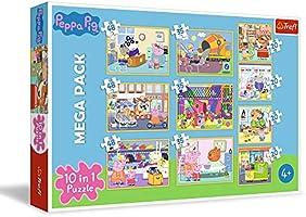 Trefl, Puzzle Peppa Pig con Amigos de 20 a 48 Piezas, 10 Juegos de Peppa Pig para niños a Partir de 4 años