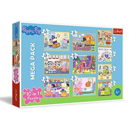 Trefl Wutz mit Freunden, Peppa Pig Von 20 bis 48 Teilen, 10 Sets, für Kinder AB 4 Jahren Puzzle, Multicolor (90358)