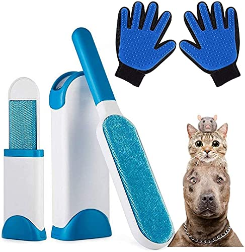 AidSci Guante de Mascotas + Kit de Cepillo de Limpieza de Mascotas, Mascotas Perros Gatos Manopla Masaje para Mascotas Retiro del Pelo, Un par de Guantes
