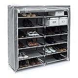 Relaxdays Meuble à chaussures VALENTIN Housse tissu étagère armoir chaussures 7 Étages pour environ 36...
