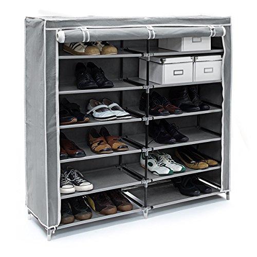 Relaxdays Meuble à chaussures VALENTIN Housse tissu étagère armoir chaussures 7 Étages pour environ 36 paires de chaussures H x l x P: 108,5 x 114 x 30,5 cm Fermeture à glissière Gris