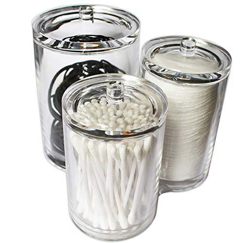 Kovira Wattepad aufbewahrung, Wattepads Wattestäbchen Halter Spender Wattebausch Tupferhalter, Acryl klar verbindend 3 runde Behälter mit Deckel
