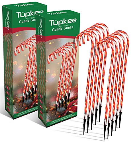Tupkee Pre-Lit Candy Cane Decorations -Pathway Christmas Lights, 26-Inches (66 cm), Set of 5, Outdoor Christmas Decorations Yard Candycane Lights - 2 Pack (Total 10 Lights)