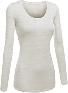Women's Junior and Plus Size Basic Scoop Neck Tshirt Long Sleeve Tee