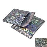 Paquete de 10 sobres de papel de aluminio holográfico plateado brillante con burbujas acolchadas, ideales para enviar por correo o como alternativa al envoltorio de regalo (165 mm x 165 mm – CD)