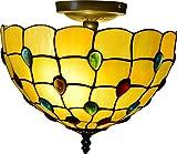 Luz de Techo Vendimia Tiffany Hermosas luces Decoración Iluminación Vidrio Manchado Pantalla de Lámpara Lámpara de Techo 40W 2 llamas 30x29cm Diseño: gemas de colores