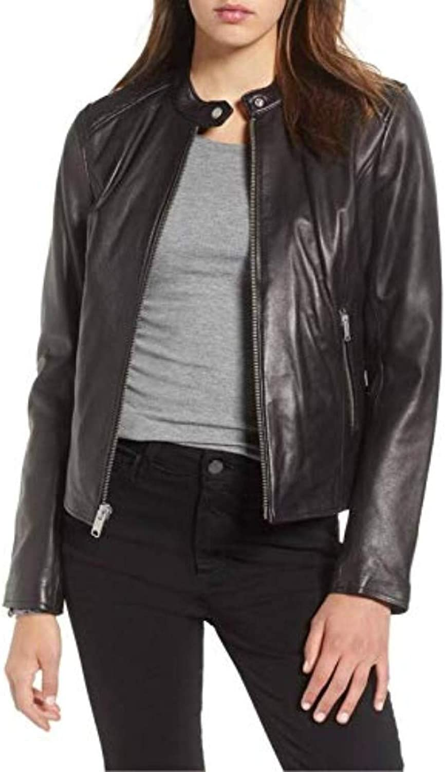 New Fashion Style Women's Leather Jackets Black D88_