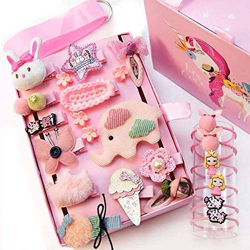 NFACE 24pcs Gift Set Hair Accessories Baby Little Girls Hair Clips Bows Barrettes Hairpins Set Head Ornaments (Pink-H Style)
