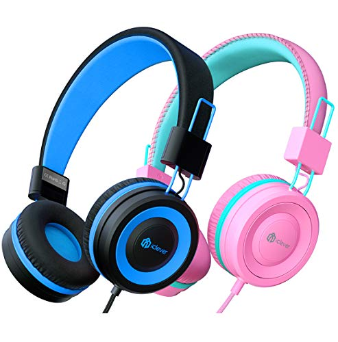 Kinder Kopfhörer 2 Pack, kabelgebundene Kopfhörer für Kinder mit MIC, Lautstärkeregelung einstellbare Stirnband, faltbar auf Ohr Kopfhörer Kinder für Schule iPad Tablet Kindle Flugzeug