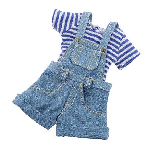 Kit de Vêtements Salopette T-shirt Pour 1/6 Poupées BJD Blythe Accessoires -Bleu/Noir - Bleu, /