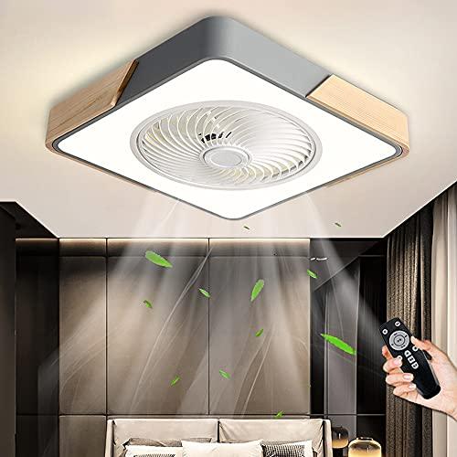 Ventilador De Techo Con Control Remoto LED Silenciosa Moderna Luz De Techo Con Ventilador Regulable 3 Velocidades Ventilador Lámpara De Techo Para Dormitorio Sala De Estar Comedor Oficina (Grey)
