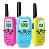 Fikowo Walkie Talkies for Kids 3-Pack, 22 Channels 2 Way Radio 3 Miles Long Range Toy with Backlit LCD and Flashlight, Great Gifts for Boys & Girls for Outdoor, Hiking, Camping Game(Blue Pink Yellow)