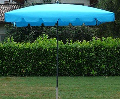 PEGANE Parasol rectangulaire centré Coloris Turquoise - Dim : H 250 x D 240 x 160/4 cm