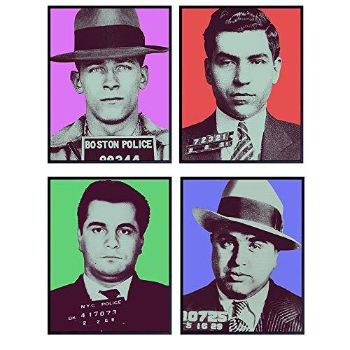 Mafia Pop Art Mugshot Wall Art Prints - Gift for Gangster, Mob, Godfather, Mobster, John Gotti, Whitey Bulger, Al Capone, Lucky Luciano Fans, Boys, Men- Funny 8x10 Room, Home Decor - Unframed Photos