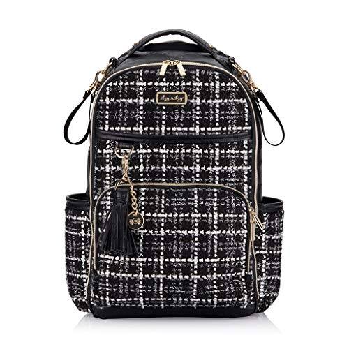 Itzy Ritzy Diaper Bag Backpack – 'The Kelly' Large Capacity Boss Plus Backpack Diaper Bag Featuring 19 Pockets, Changing Pad, Stroller Clips and Comfortable Backpack Straps, Black & White Tweed