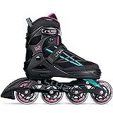 Movino Inline Skates | Cruzer B2 | Verstellbare Rollschuhe | Inline-Skates | L (39-42) | ABEC9-Lager | große Räder 80 mm | Dreistufiges Befestigungssystem: Schnalle, Schnürsenkel und Gürtel