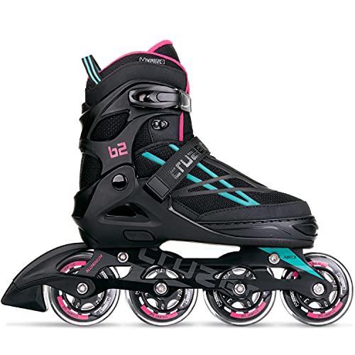 Movino Inline Skates | Cruzer B2 | Verstellbare Rollschuhe | Inline-Skates | M(35-37) | ABEC9-Lager | große Räder 76 mm | Dreistufiges Befestigungssystem: Schnalle, Schnürsenkel und Gürtel